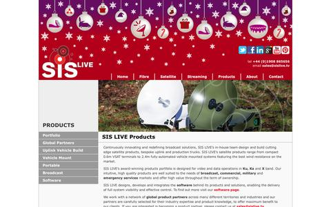 Screenshot of Products Page sislive.tv - Satellite Uplink Vehicles and Portable VSAT Terminals - SIS LIVE - captured Dec. 19, 2015