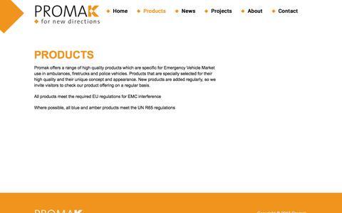 Screenshot of Products Page promak.biz - Products - Promak - captured July 18, 2016