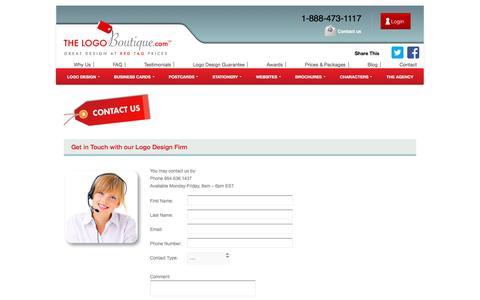 Screenshot of Contact Page thelogoboutique.com - Contact Us Logo Design | Custom Logo | The Logo Boutique - captured Sept. 13, 2016