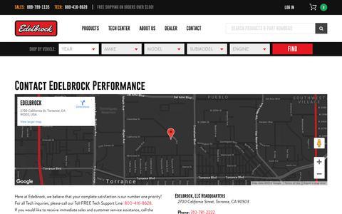 Screenshot of Contact Page edelbrock.com - Contact Edelbrock Performance - captured Sept. 27, 2018