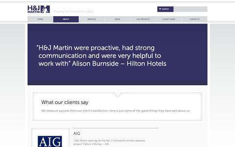 Screenshot of Testimonials Page hjmartin.co.uk - Testimonials Overview |  HJ Martin - captured Sept. 26, 2014