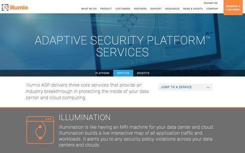 Screenshot of Services Page illumio.com - Illumio Adaptive Security Platform - captured March 30, 2016