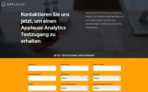 Screenshot of Landing Page applause.com - Applause Analytics - Jetzt kostenlosen Testzugang anfordern! - captured March 22, 2016