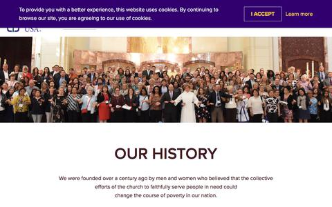 Screenshot of About Page catholiccharitiesusa.org - Our History - Catholic Charities USA - captured July 16, 2018