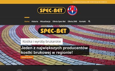 Screenshot of Home Page spec-bet.pl - Producent elementów betonowych: Spec-Bet i ZMB, Radom - captured Oct. 12, 2015