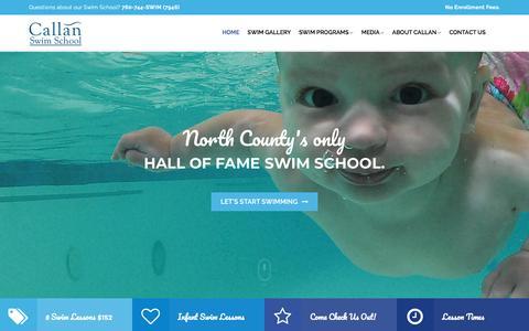 Screenshot of Home Page callanswimschool.com - Callan Swim School   North County Premiere Swim Lessons - captured July 15, 2018