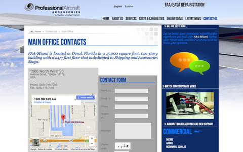 Screenshot of Contact Page airproaviation.com - Main Office Contacts - captured Feb. 4, 2016