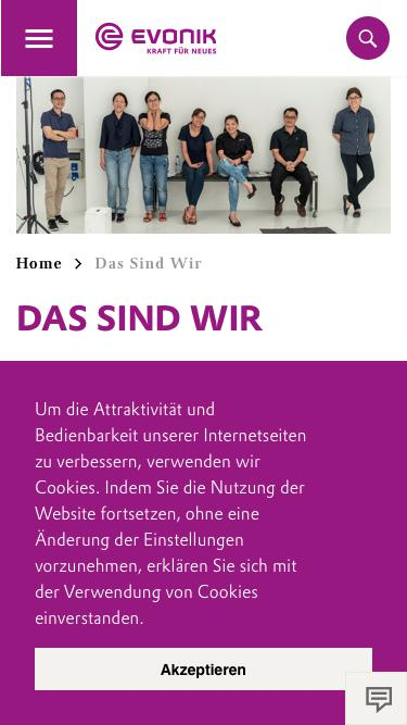 Screenshot of Team Page  evonik.com - Das Sind Wir                                                                - Evonik Careers