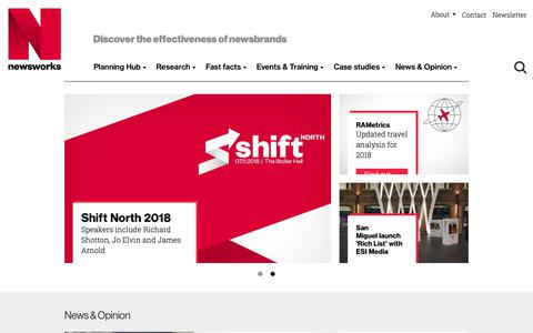 Screenshot of Home Page newsworks.org.uk - Advertising in newspapers and newsbrands - Newsworks - captured Oct. 19, 2018