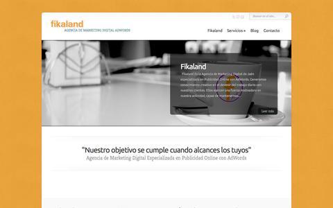 Screenshot of Home Page fikaland.com - Fikaland | Agencia de Marketing Digital AdWords - captured Sept. 30, 2014