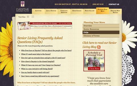 Screenshot of FAQ Page daystarseattle.com - Senior Living FAQ | Daystar Retirement Village - captured Oct. 27, 2014