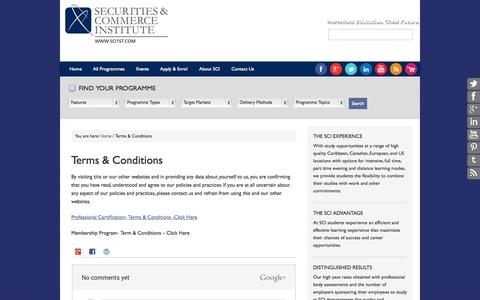Screenshot of Terms Page sci1st.com - Terms & Conditions - Securities and Commerce Institute - captured Oct. 27, 2014