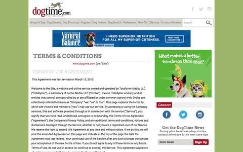 Screenshot of Terms Page dogtime.com - Terms & Conditions - Dogtime - captured Nov. 25, 2015