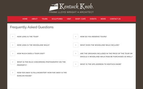 Screenshot of FAQ Page kentuckknob.com - FAQ - Kentuck Knob - captured Oct. 14, 2017