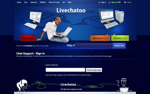 Screenshot of Login Page livechatoo.com - Live Support, Chat Support - Sign In / Livechatoo.com - captured Dec. 25, 2016