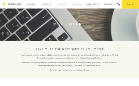 Screenshot of Developers Page addisonlee.com - Developers | Addison Lee - captured Nov. 15, 2016