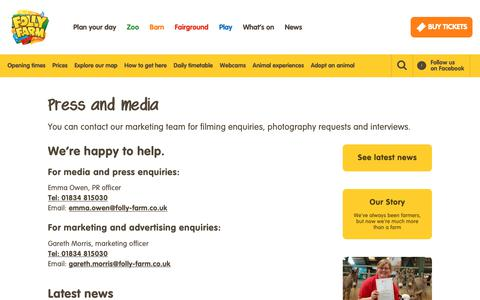 Screenshot of Press Page folly-farm.co.uk - Media and Press - Folly Farm Adventure Park & Zoo in Wales - captured Oct. 10, 2018
