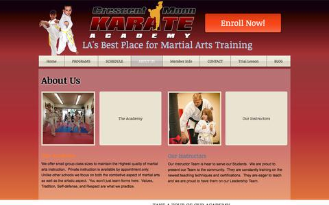 Screenshot of About Page crescentmoonkarate.com - About Martial Arts Karate 90019 - captured Nov. 13, 2016