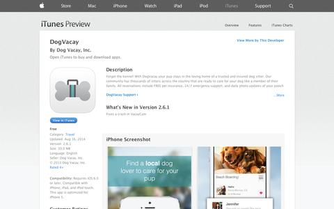 Screenshot of iOS App Page apple.com - DogVacay on the App Store on iTunes - captured Oct. 22, 2014