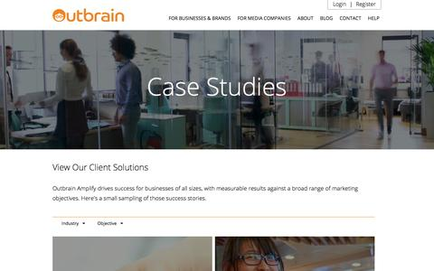 Screenshot of Case Studies Page outbrain.com - Content Amplify Success Stories | Outbrain - captured Sept. 12, 2016