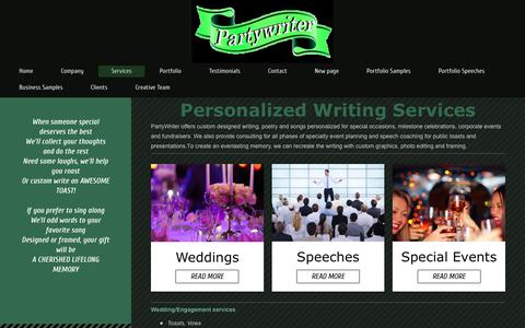 Screenshot of Services Page partywriter.com - Partywriter - Services - captured Sept. 27, 2018