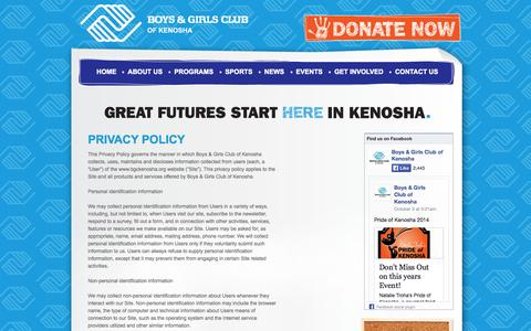 Screenshot of Privacy Page bgckenosha.org - Boys & Girls Club | Privacy Policy, Youth Programs, After School Program, Youth Sports, Kenosha, WI - captured Oct. 5, 2014