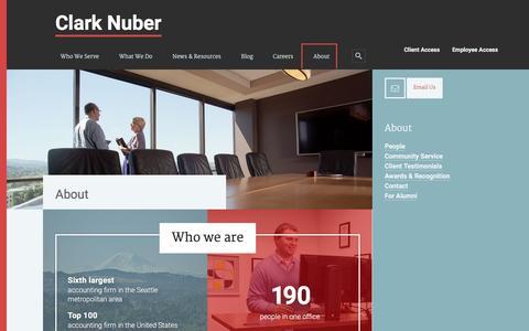 Screenshot of About Page clarknuber.com - About - Clark Nuber - captured Dec. 9, 2015