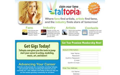 Screenshot of Landing Page taltopia.com - Taltopia.com - A community of Musicians, Artists, Actors, Athletes, Comedians, Models, Dancers, and more! - captured Aug. 18, 2016