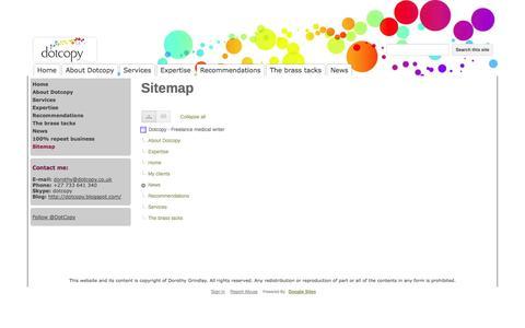 Screenshot of Site Map Page dotcopy.co.uk - Sitemap - Dotcopy - Freelance medical writer - captured Sept. 30, 2014