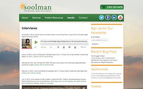Screenshot of Press Page soolmannutrition.com - Media | Soolman Nutrition and Wellness LLC - captured Dec. 1, 2016