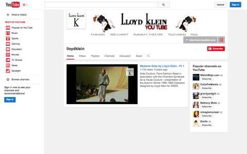 Screenshot of YouTube Page youtube.com - lloydklein  - YouTube - captured Oct. 22, 2014
