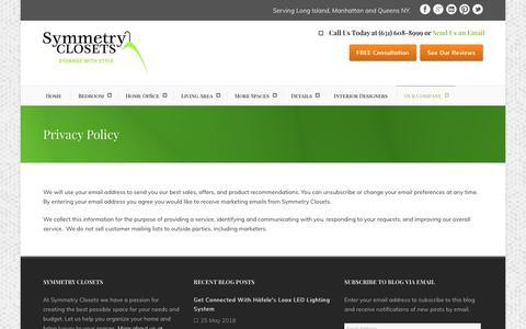 Screenshot of Privacy Page symmetryclosets.com - Custom Closets Long Island   Home Organization Systems - captured Oct. 19, 2018