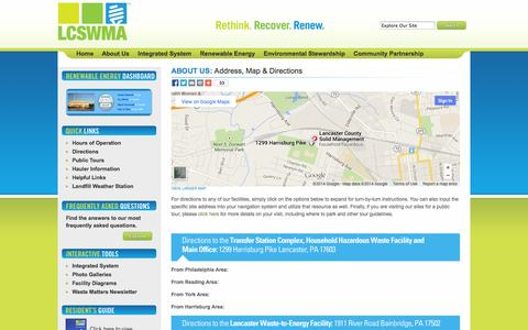 Screenshot of Maps & Directions Page lcswma.org - Lancaster County Solid Waste Management Authority | Map & Directions - captured Sept. 26, 2014