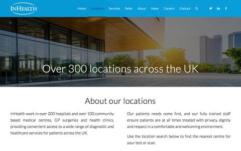 Screenshot of Locations Page inhealthgroup.com - Locations - Over 300 locations across the UK - InHealth - captured Sept. 21, 2018
