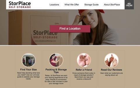 Screenshot of Home Page storplaceselfstorage.com - Welcome to StorPlace Self Storage - Stress Free Storage - captured Sept. 30, 2014
