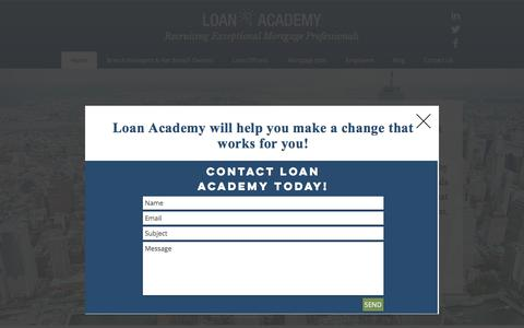 Screenshot of Home Page loan-academy.com - Loan Academy | Recruiting Exceptional Mortgage Professionals - captured Aug. 30, 2017