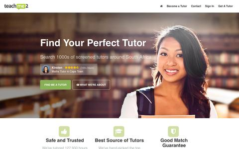 Screenshot of Home Page teachme2.co.za - South Africa's Most Effective Tutors – Teach Me 2 - captured June 18, 2015