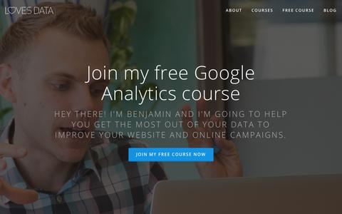 Screenshot of Home Page lovesdata.com - Loves Data – Learn Google Analytics & Google AdWords - captured June 20, 2017
