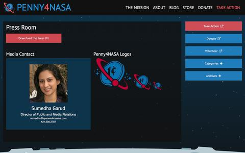 Screenshot of Press Page penny4nasa.org - Press Room | Penny4NASA - captured Dec. 8, 2015