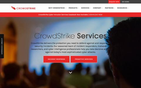 Screenshot of Services Page crowdstrike.com - Proactive & Incident Response Services to Cyber Attacks - captured Dec. 4, 2015
