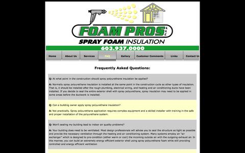 Screenshot of FAQ Page foamprosnh.com - Spray Foam Insulation for your home by Foam Pros, Belmont NH - captured Oct. 6, 2014