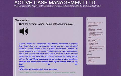 Screenshot of Testimonials Page activecasemanagement.co.uk - Active Case Management Ltd » Testimonials - captured Oct. 4, 2014