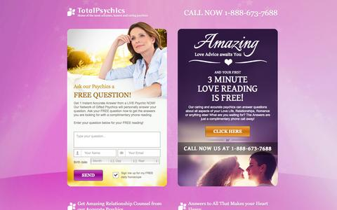 Screenshot of Landing Page totalpsychics.com - Amazing Love Advice awaits You. FREE Love Readings. - captured Oct. 27, 2014