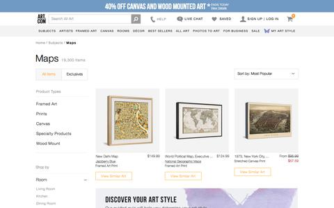 Screenshot of Maps & Directions Page art.com - Maps artwork for sale, Posters and Prints at Art.com - captured July 11, 2018