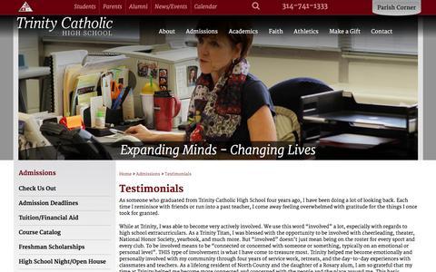 Screenshot of Testimonials Page trinitycatholichigh.org - Trinity Catholic High School | Student and Alumni Testimonials - captured June 21, 2016