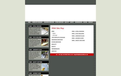 Screenshot of Site Map Page mswukltd.co.uk - MSW - The Complete Construction Solution | Steel Decking, Stud Welding, Concrete Slab, Access Floor, Safety Netting. Stockists of Kingspan including the Multideck 146.| MSW Legal Notice & Privacy Policy. - captured Sept. 30, 2014