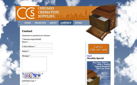 Screenshot of Contact Page chicagocremationsupplies.com - Rental Inserts - Chicago Cremation Supplies - captured Sept. 29, 2014