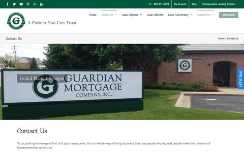 Screenshot of Contact Page guardianmortgageonline.com - Contact Our Mortgage Companies | Guardian Mortgage Company - captured Nov. 16, 2016