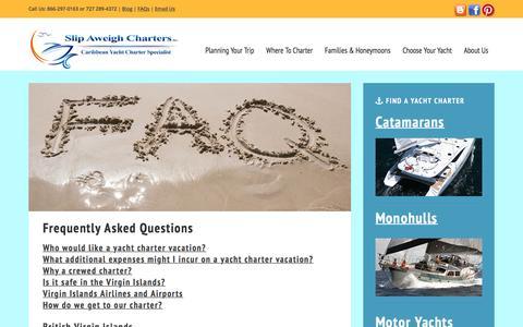 Screenshot of FAQ Page slipaweighcharters.com - FAQs - captured Nov. 30, 2016