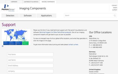 Screenshot of Support Page perkinelmer.com - Technical Support   Imaging Components   PerkinElmer - captured Nov. 24, 2016